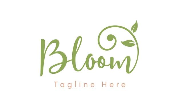 Design de logotipo feminino moderno flor tipografia Vetor Premium