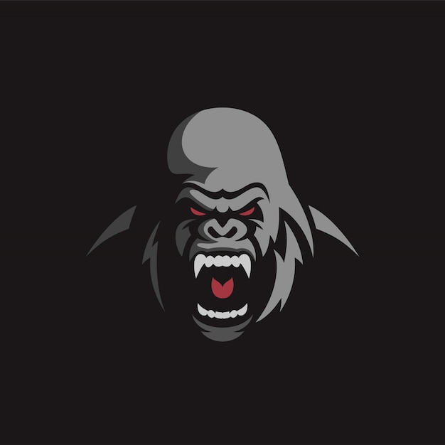 Design de logotipo gorila com raiva Vetor Premium