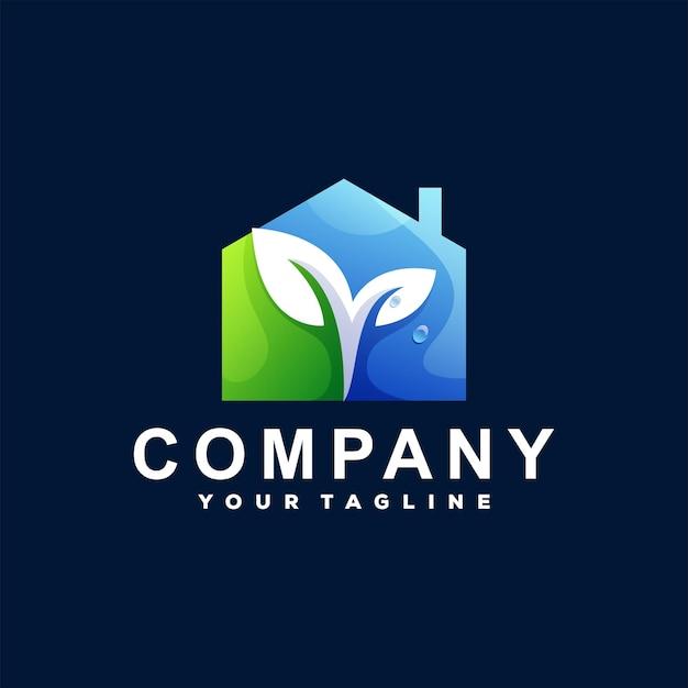 Design de logotipo gradiente de casa verde Vetor Premium