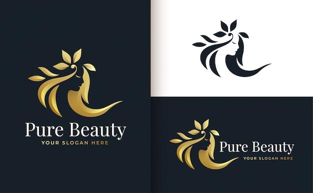 Design de logotipo gradiente de ouro de salão de cabeleireiro de mulher Vetor Premium