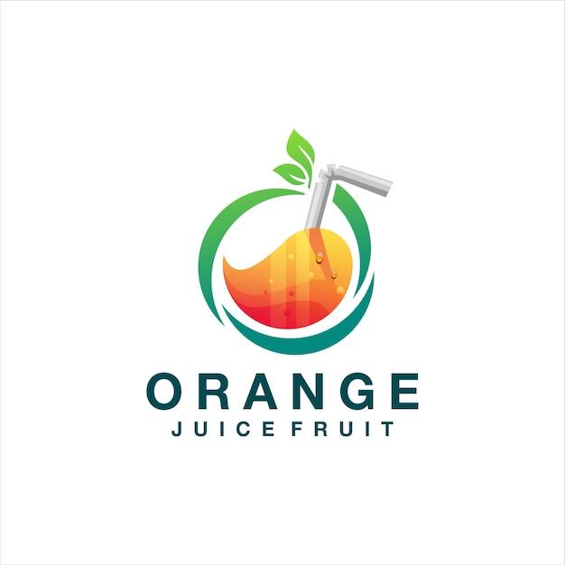 Design de logotipo gradiente de suco de laranja Vetor Premium