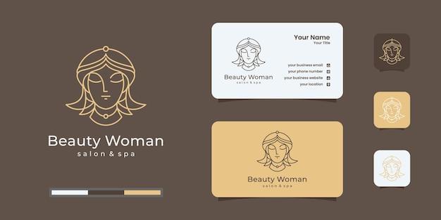 Design de logotipo gradiente dourado e design de cartão de visita para mulher elegante cabeleireiro Vetor Premium