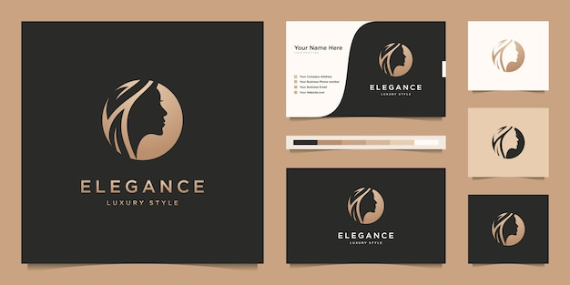 Design de logotipo gradiente dourado em salão de beleza de mulher elegante e cartão de visita Vetor Premium