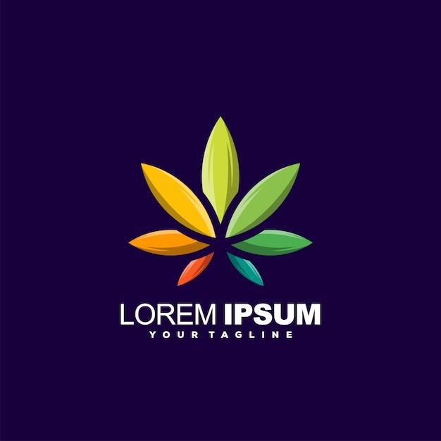 Design de logotipo gradiente impressionante folha Vetor Premium