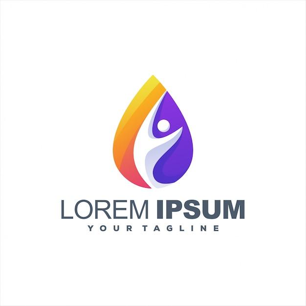 Design de logotipo gradiente impressionante gota Vetor Premium
