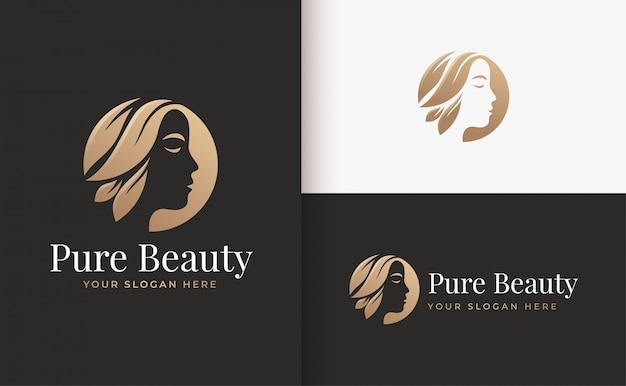 Design de logotipo gradiente ouro salão de cabelo de mulher Vetor Premium