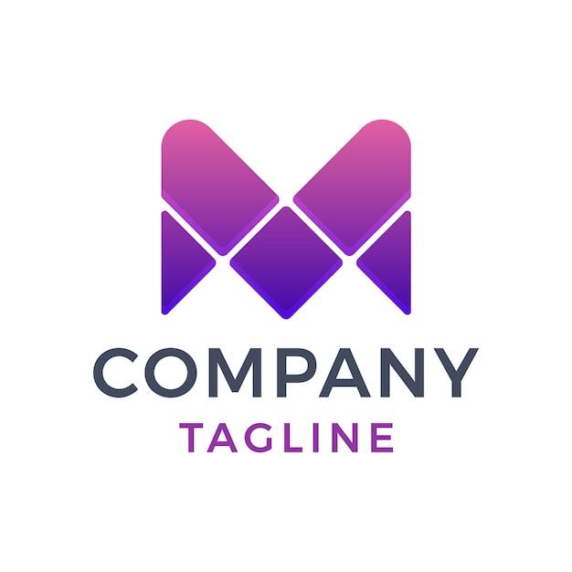 Design de logotipo gradiente roxo moderno abstrato letra mv Vetor Premium