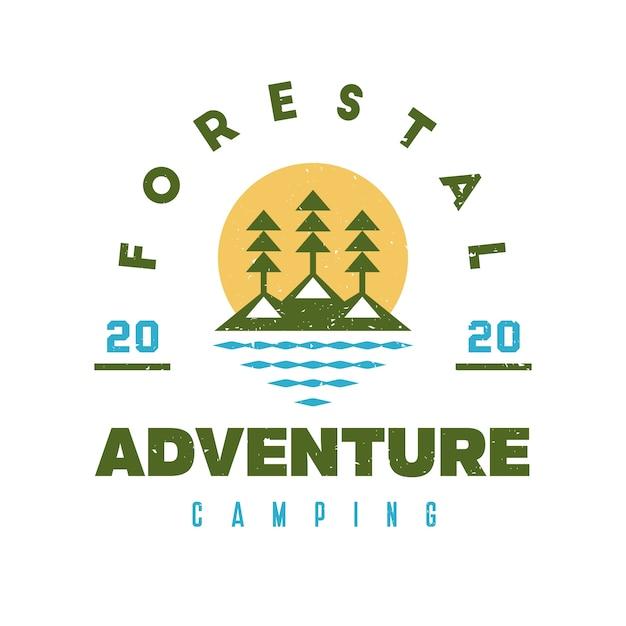 Design de logotipo grunge da floresta do lago Vetor Premium