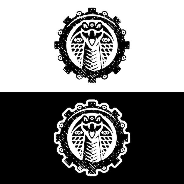 Design de logotipo grunge de engrenagem cobra Vetor Premium
