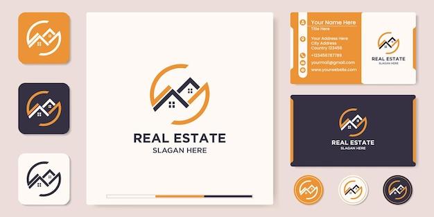 Design de logotipo imobiliário e cartão de visita Vetor Premium