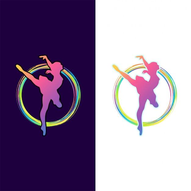 Design de logotipo impressionante dança colorida Vetor Premium