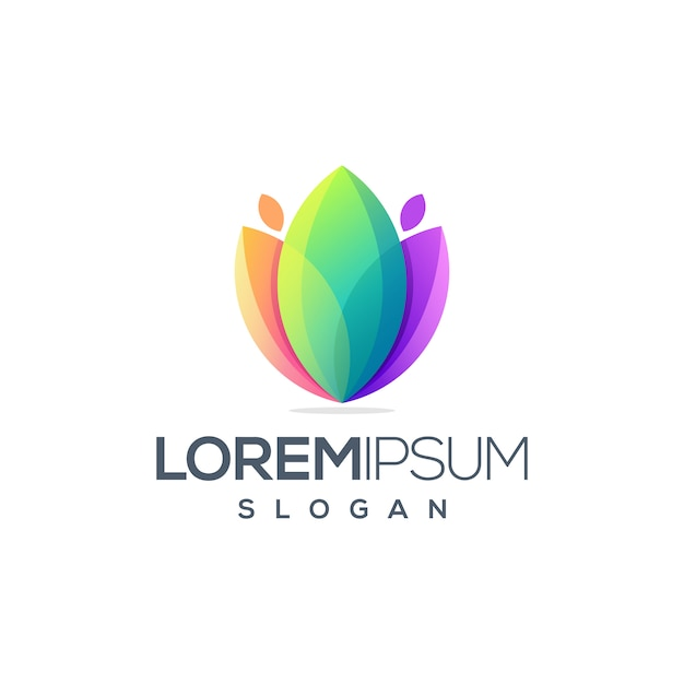 Design de logotipo impressionante flor Vetor Premium