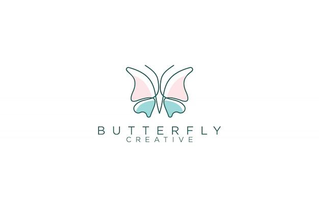 Design de logotipo incrível linha arte borboleta Vetor Premium