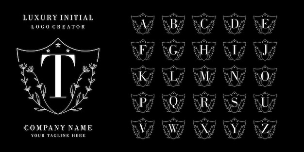 Design de logotipo inicial de luxo. conjunto de logotipo do alfabeto Vetor Premium