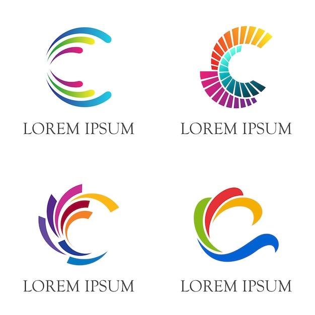 Design de logotipo inicial letra c com estilo multicolorido Vetor Premium