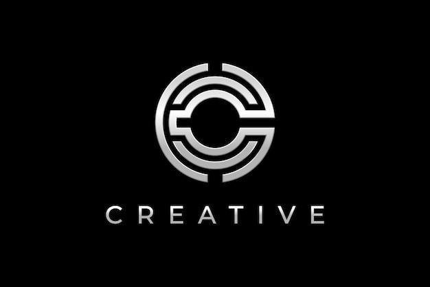 Design de logotipo letra c em prata Vetor Premium