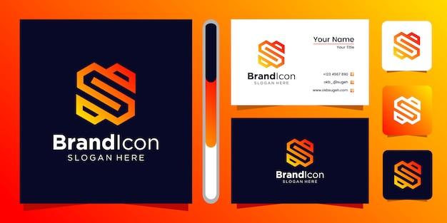 Design de logotipo letra s e cartão de visita Vetor Premium
