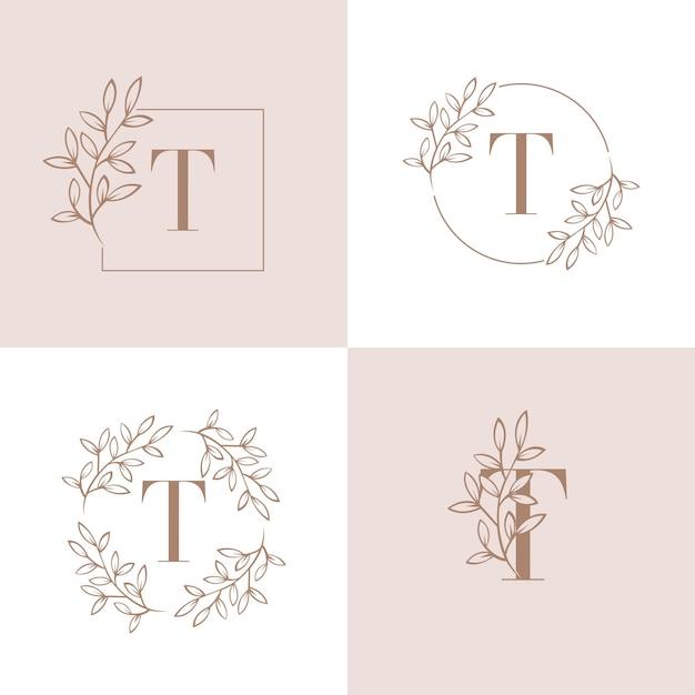 Design de logotipo letra t com elemento de folha de orquídea Vetor Premium