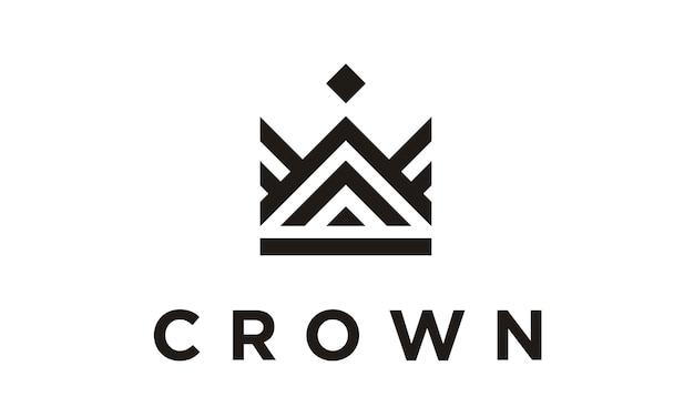 Design de logotipo linha arte coroa / royal Vetor Premium