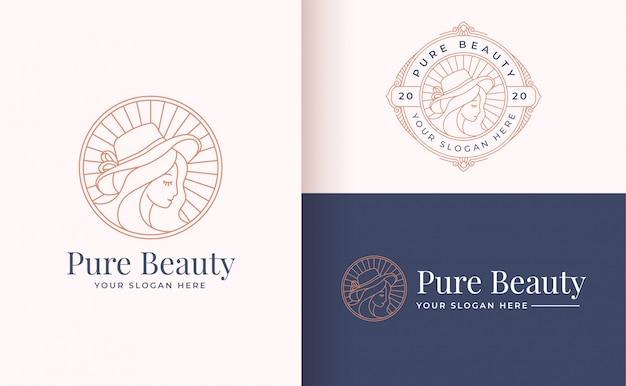 Design de logotipo linha floral mulheres arte Vetor Premium