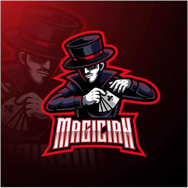 Design de logotipo mascote esporte mágico Vetor Premium