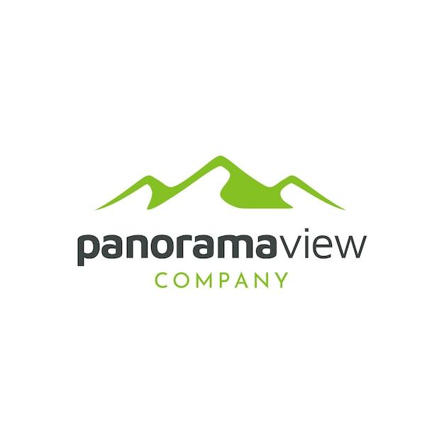 Design de logotipo minimalista paisagem hills Vetor Premium