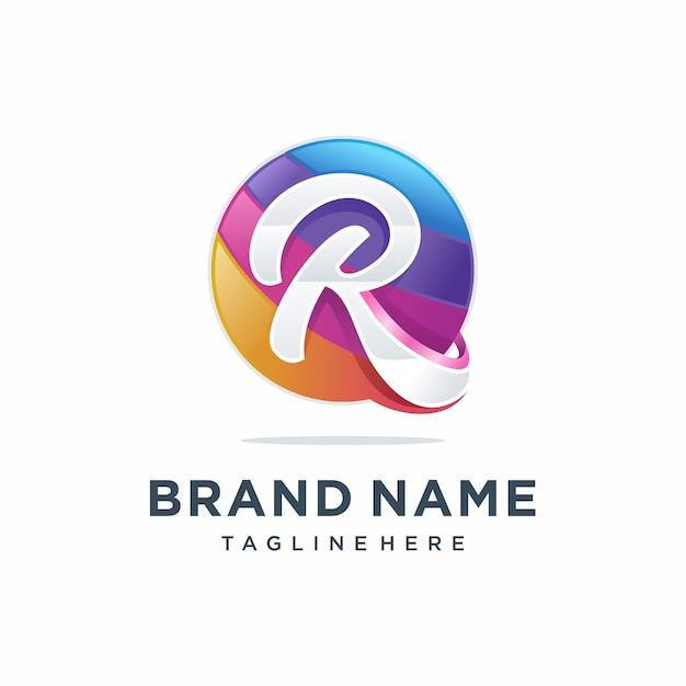 Design de logotipo moderno letra r colorida Vetor Premium
