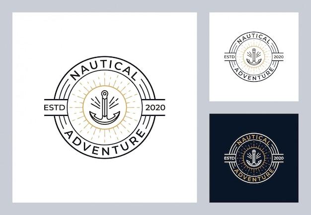 Design de logotipo náutico em estilo vintage Vetor Premium