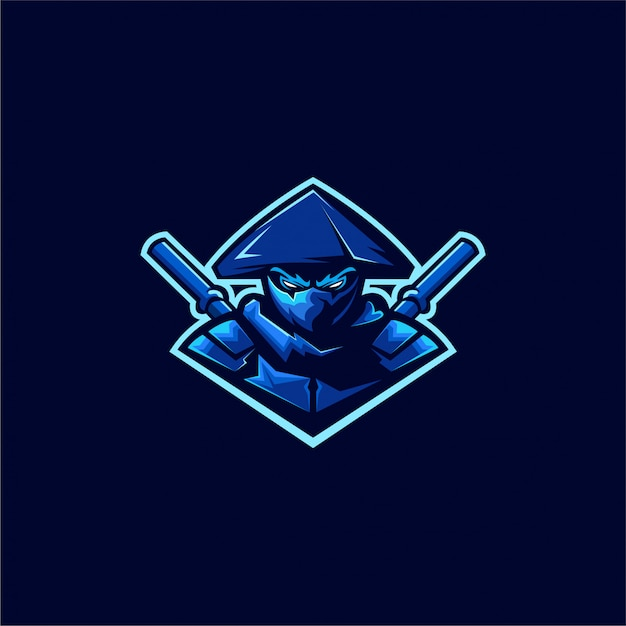 Design de logotipo ninja assassino Vetor Premium