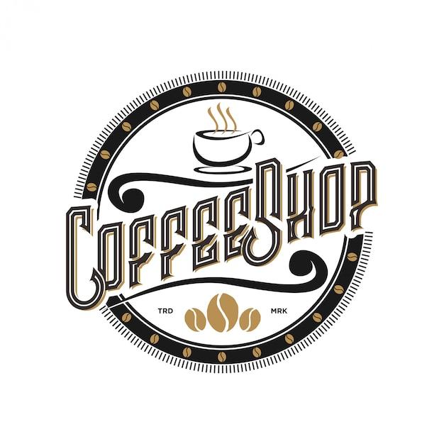 Design de logotipo para café, com estilo vintage Vetor Premium