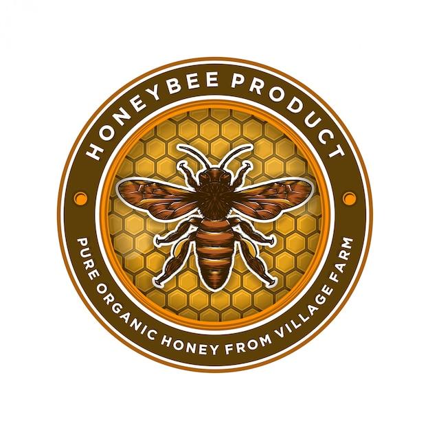 Design de logotipo para produtos de mel ou fazendas de abelhas Vetor Premium