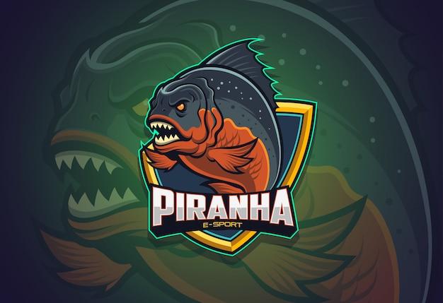 Design de logotipo piranha esport Vetor Premium