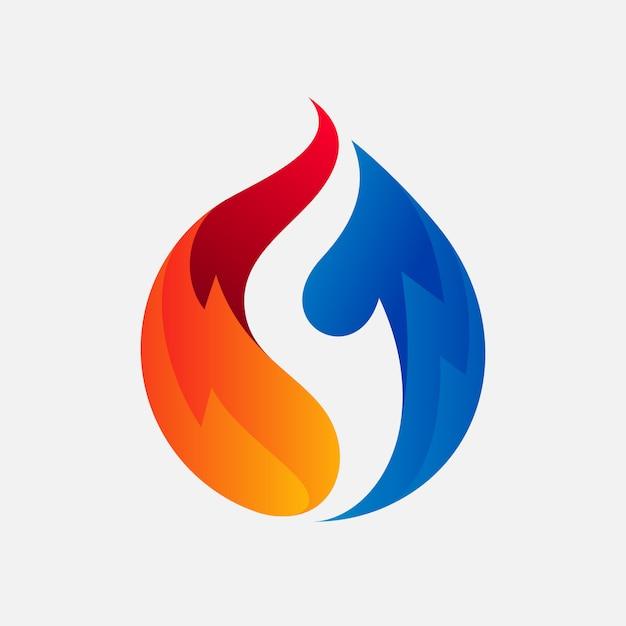 Design de logotipo quente e frio para empresa de refrigeração Vetor Premium