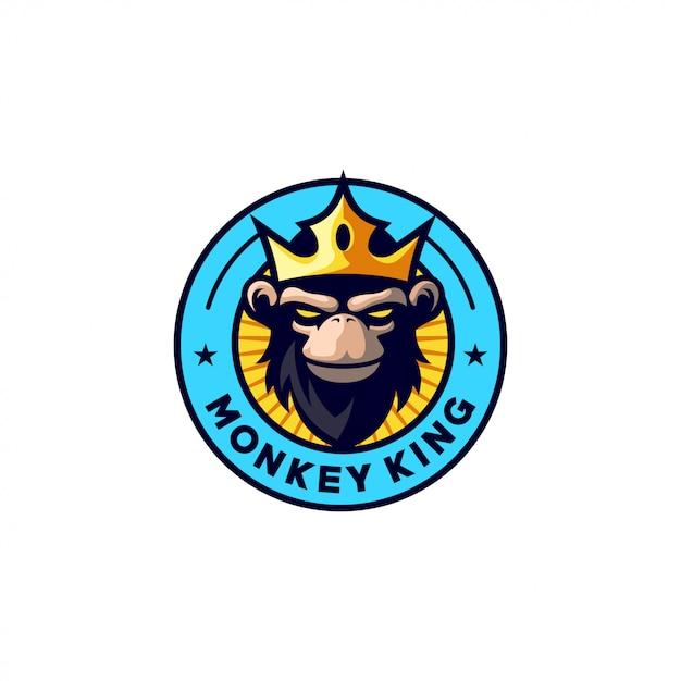 Design de logotipo rei macaco Vetor Premium