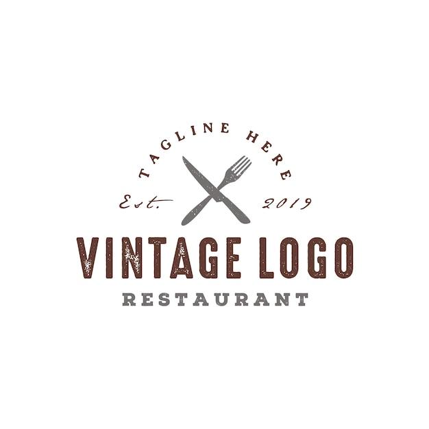 Design de logotipo rústico restaurante vintage Vetor Premium