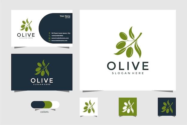 Design de logotipo verde oliva e cartão de visita Vetor Premium