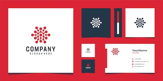 Design de logotipo vermelho inspirador com cartão Vetor Premium