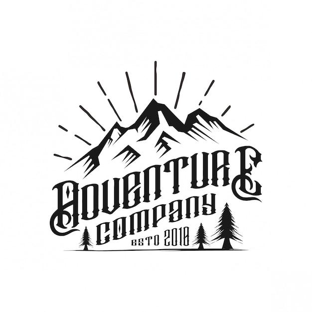 Design de logotipo vintage de empresa de aventura Vetor Premium