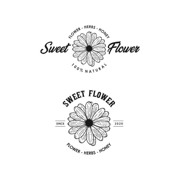 Design de logotipo vintage de flor doce linha arte modelo premium estoque Vetor Premium