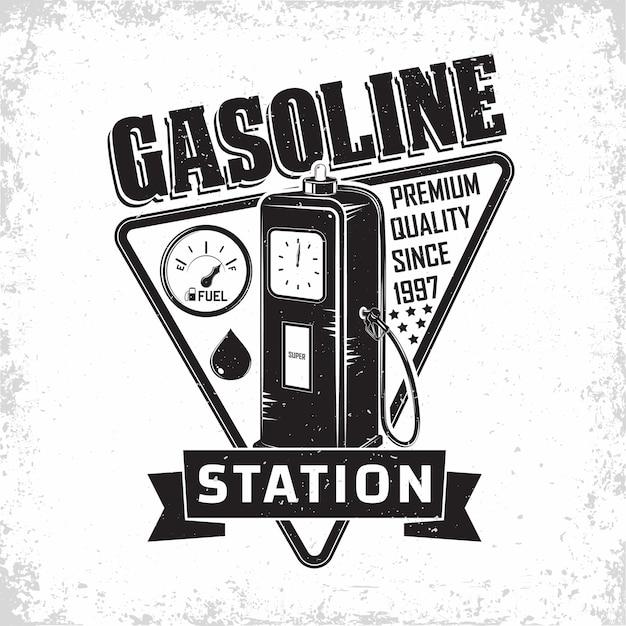 Design de logotipo vintage de posto de gasolina com um emblema de posto de gasolina Vetor Premium