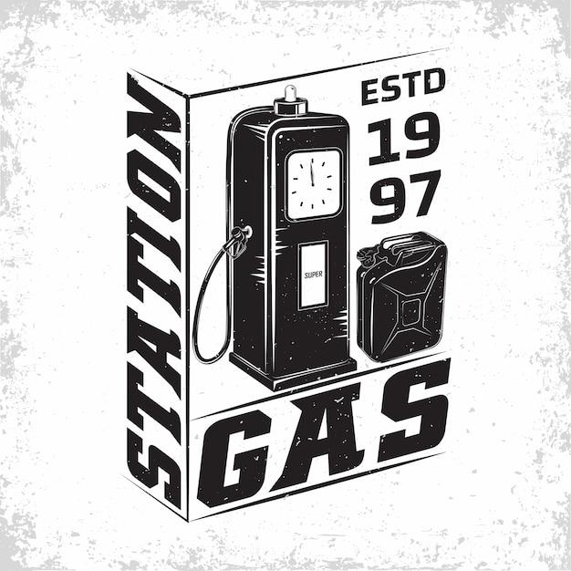 Design de logotipo vintage de posto de gasolina Vetor Premium