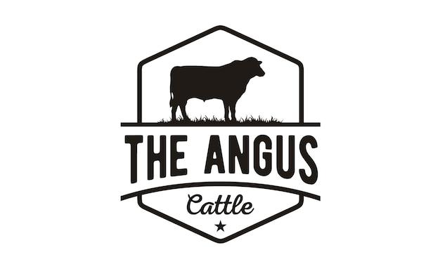 Design de logotipo vintage gado / carne Vetor Premium