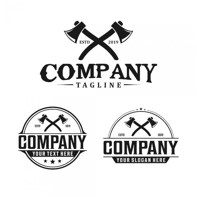 Design de logotipo vintage machado Vetor Premium