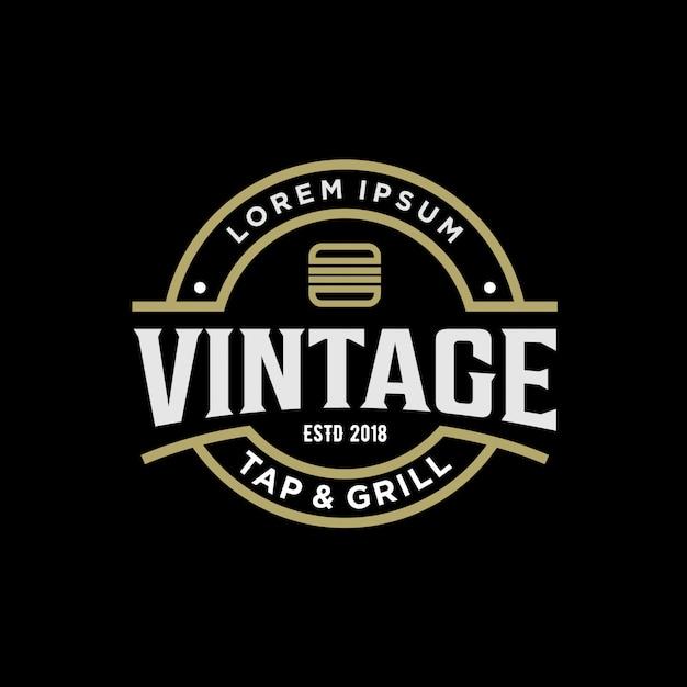 Design de logotipo vintage para hambúrguer Vetor Premium