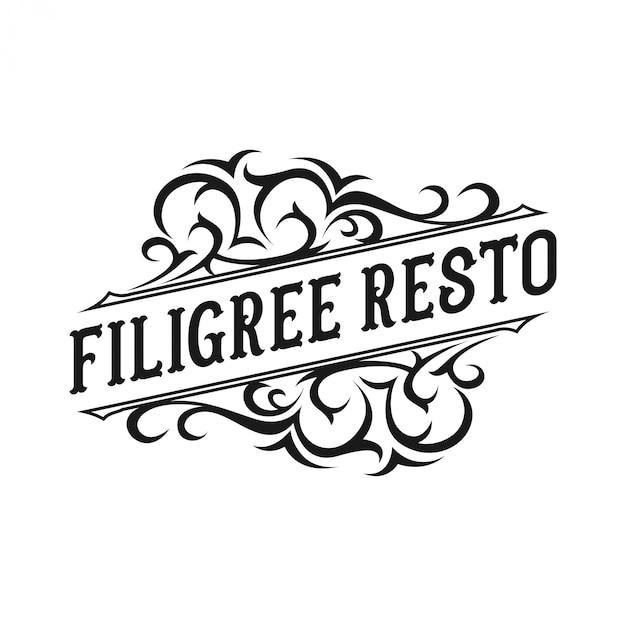 Design de logotipo vintage para restaurante Vetor Premium