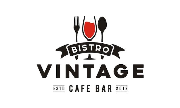 Design de logotipo vintage restaurante Vetor Premium