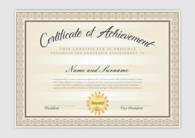 Design de luxo modelo certificado com elemento de texto, diploma Vetor Premium