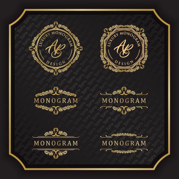 Design de luxo monograma com fundo preto elegante Vetor Premium