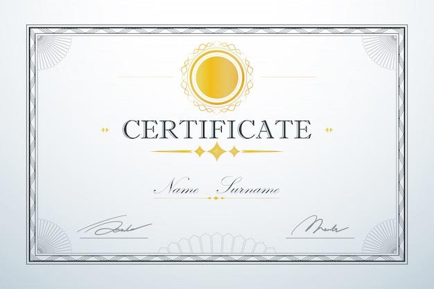 Design de luxo retrô vintage. modelo de quadro de cartão de certificação Vetor Premium