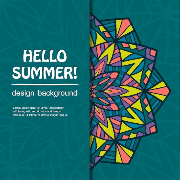 Design de mandala de verão. origem étnica. Vetor Premium